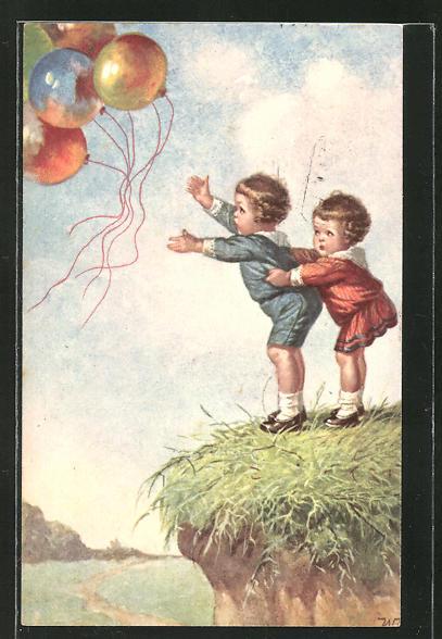 Künstler-AK Wally Fialkowska: zwei Kinder an einem Abgrund lassen Ballons fliegen