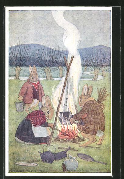Künstler-AK sign.Margaret Tempest: Hasen kochen über einem Holzfeuer