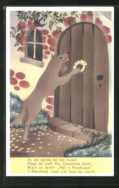Künstler-AK Willy Schermele: Wolf an der Tür aus dem Märchen Rotkäppchen