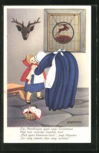 Künstler-AK Willy Schermele: Rotkäppchen wird von der Mutter mit Hinweisen zur Grossmutter geschickt