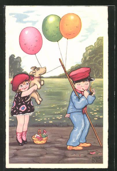 Künstler-AK Margret Boriss: Mädchen mit Hund und Junge mit Luftballons