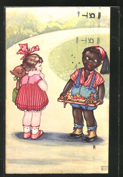 Künstler-AK Margret Boriss: Mädchen mit Teddy spricht mit einem afrikanischen Mädchen