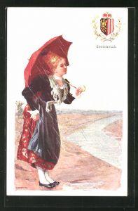 Künstler-AK Adolf Karpellus: junge Frau mit Schirm in Tracht, Wappen Oberösterreich