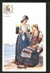 Künstler-AK Adolf Karpellus: zwei junge Frauen in Tracht, Wappen vom Küstenland