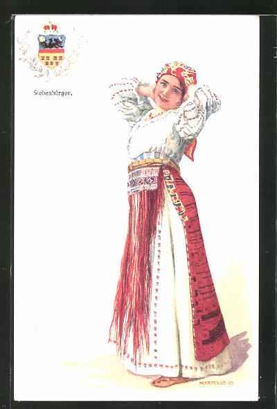 Künstler-AK Adolf Karpellus: junge Frau in Tracht, Wappen von Siebenbürgen