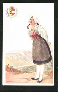Künstler-AK Adolf Karpellus: junge Frau in Tracht im Gebirge mit Wappen