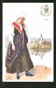 Künstler-AK Adolf Karpellus: junges Mädchen in Tracht, Wappen der Krain