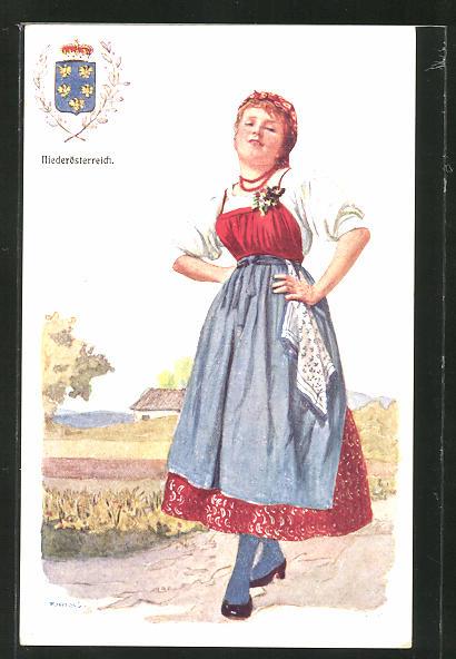 Künstler-AK Adolf Karpellus: Frau in Tracht, Wappen von Niederösterreich