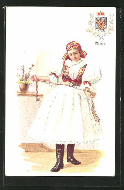 Künstler-AK Adolf Karpellus: junges Mädchen in Tracht, Wappen von Mähren