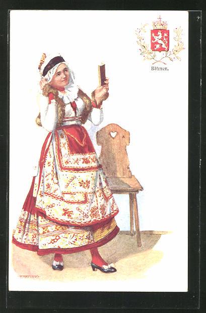Künstler-AK Adolf Karpellus: junge Frau in Tracht, Wappen von Böhmen