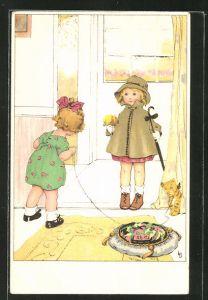 Künstler-AK Lia Döring: Mädchen mit Blumenstrauss und Schirm wird an der Tür begrüsst