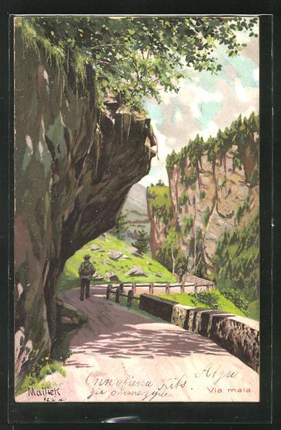 Künstler-AK Alfred Mailick: Wanderer auf einem Weg unter einem Fels