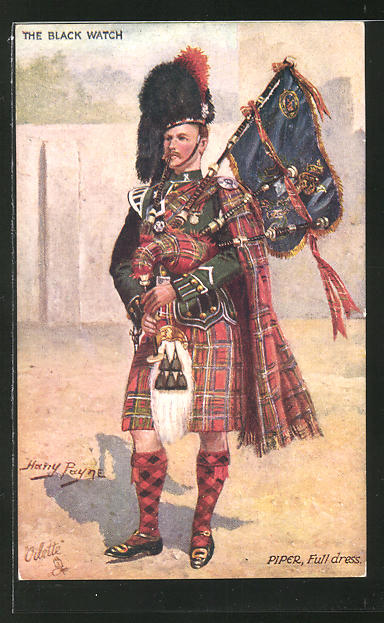 Künstler-AK Harry Payne: Soldat in Uniform mit Dudelsack