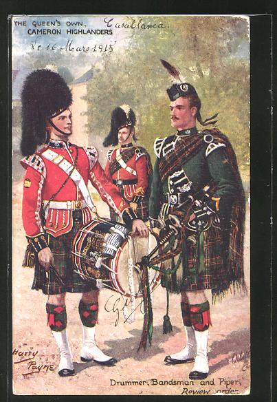 Künstler-AK Harry Payne: Soldaten in Uniform mit Dudelsack und Trommel