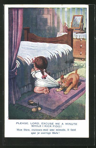 Künstler-AK Donald McGill: Hund zieht am Nachthemd eines betenden Mädchens vor dem Bett