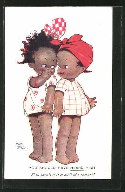 Künstler-AK Mabel Lucie Attwell: zwei hübsche schwarze Mädchen mit dem Rücken aneinander stehend