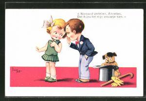 Künstler-AK sign. Jim Patt: Niemand vertellen, Annelies..., kleines Paar