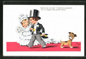 Künstler-AK sign. Jim Patt: Eerst zijn ze naar 't stadhuis geweest..., kleines Hochzeitspaar