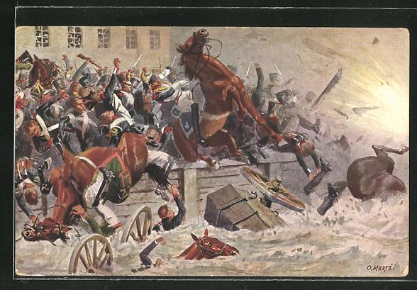 Künstler-AK O. Merte: Sprengung der Elsterbrücke 1813