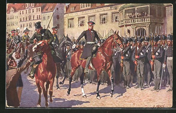 Künstler-AK O. Merte: Blüchers Einzug auf dem Marktplatz in Leipzig 1813