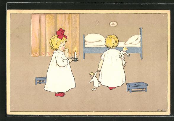 Künstler-AK Fritz Baumgarten: Kinder gehen zu Bett