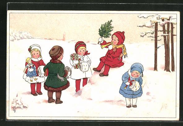 Künstler-AK Lia Döring: Kinder mit Geschenken im Schnee