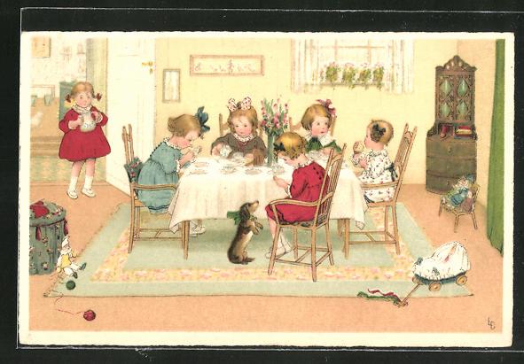 Künstler-AK Lia Döring: kleines Mädchen trinken Tee