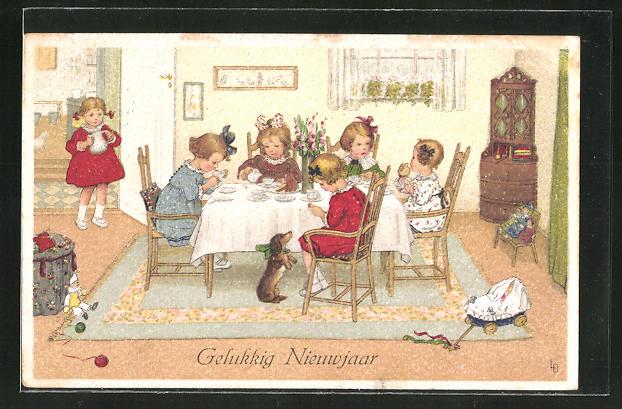 Künstler-AK Lia Döring: Gelukkig Nieuwjaar, feiernde kleine Mädchen