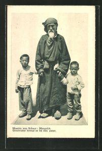 AK Mongolei, Missien van Scheut, Grossvater mit Enkeln