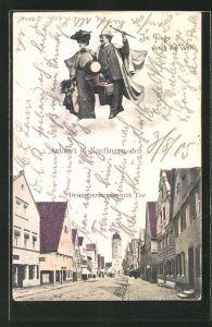 AK Nördlingen, Fliegende Menschen über der Deiningerstrasse mit Tor