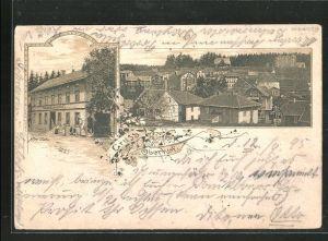 Vorläufer-Lithographie Oberhof, 1895, Ansicht vom Hotel Tröster, Teilansicht vom Ort