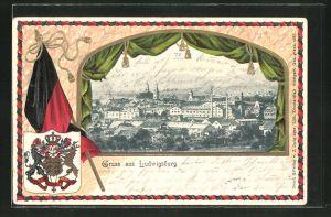 Präge-Passepartout-Lithographie Ludwigsburg, Gesamtansicht aus der Vogelschau mit Wappen und Fahne
