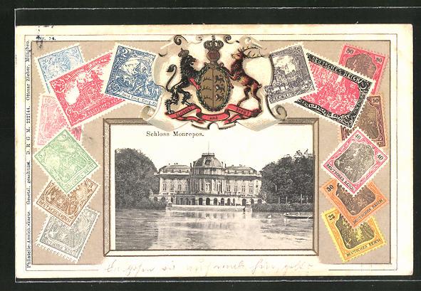 Briefmarken-AK Ludwigsburg, Schloss Monrepos mit Briefmarken und Wappen