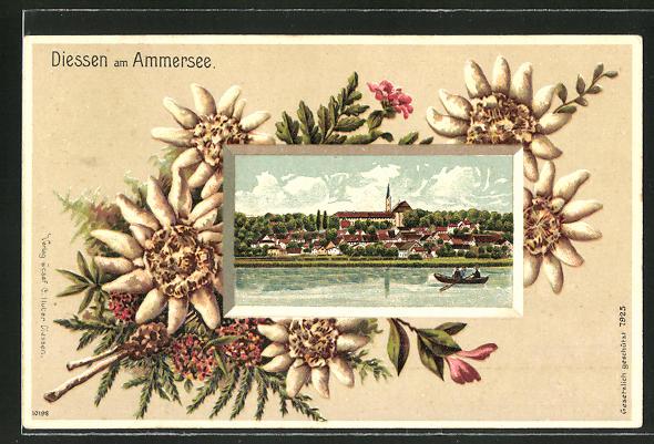 Präge-Passepartout-Lithographie Diessen am Ammersee, Gesamtansicht mit Eichenblättern und Blumen