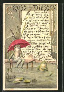 Lithographie Diessen / Ammersee, Frösche mit Regenschirm im Ammersee