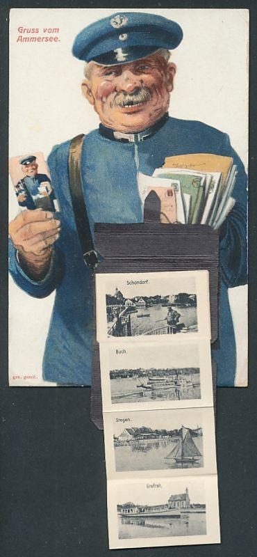 Leporello-AK Herrsching / Ammersee, Briefträger mit Ansichten in der Posttasche, Dampferlandungs-Steg, Kloster Andechs