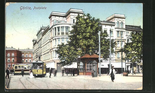 AK Görlitz, Strassenbahnen auf dem Postplatz