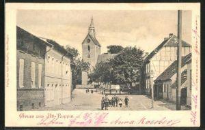 AK Alt-Ruppin, Friedrich-Wilhelm-Strasse mit Blick zur Kirche
