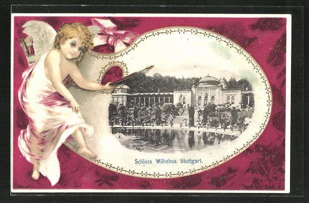 Passepartout-Lithographie Stuttgart, Schloss Wilhelma, Engel mit Pinsel auf dem Passepartout