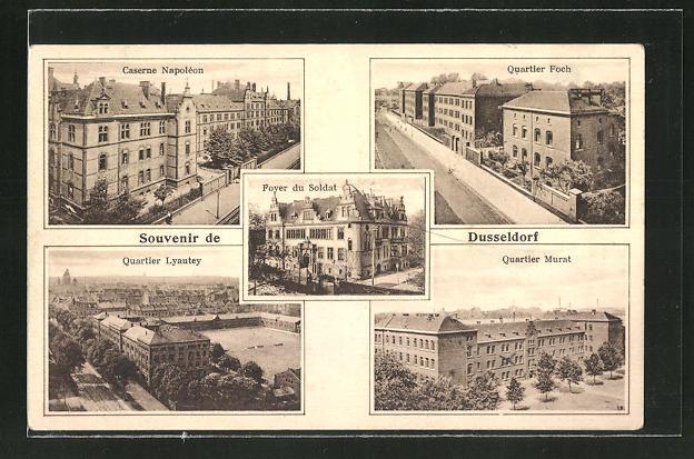 AK Düsseldorf, Caserne Napoléon, Quartier Foch, Foyer du Soldat, Quartier Lyautey, Quartier Murat