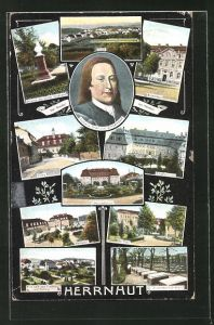 AK Herrnhut, Brüderhaus, Marktplatz, Kirche