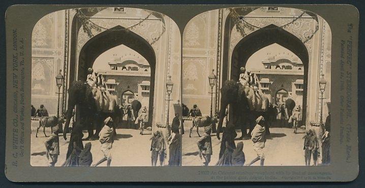 Stereo-Fotografie H.C. White, New York, Ansicht Jaipur, Elefant transportiert Passanten am Palast-Tor