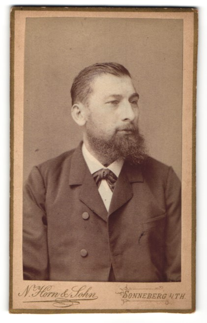 Fotografie N. Hon & Sohn, Sonneberg I / Th., Herr in Anzug mit Vollbart
