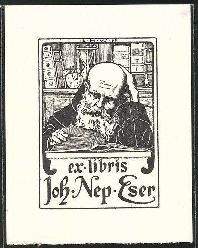 Exlibris Joh. Nep. Eser, Gelehrter liest ein Buch, Sanduhr im Hintergrund