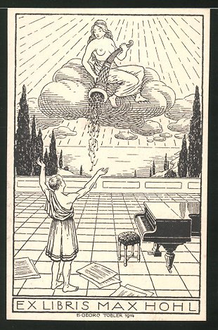 Exlibris von Georg Tobler für Max Hohl, Frauenakt schüttet Noten aus Füllhorn, Pianist & Konzertflügel