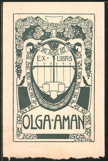 Exlibris von G. Tobler für Olga Aman, Rosen und Wappen