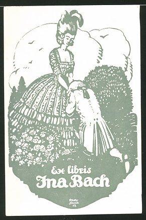 Exlibris von Paul Stollreither für Ina Bach, Mann macht Edeldame einen Antrag