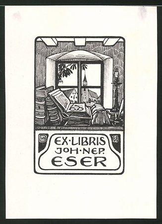 Exlibris von Bernhard Wenig für Joh. Nep. Eser, Bücher & Fensterblick mit Kirche