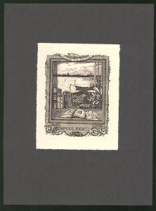 Exlibris Poul Hertz, Bücher am Fenster, Fischerboot liegt am Ufer