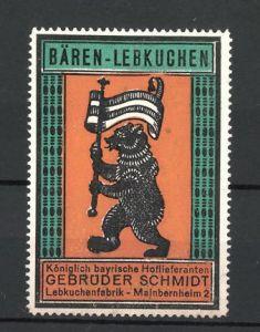 Reklamemarke Bären-Lebkuchen, Lebkuchenfabrik Gebr. Schmidt, Mainbernheim 2, Bär mit Fahne